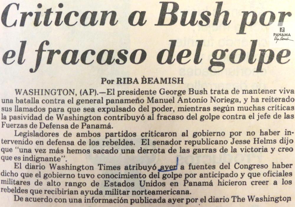 nota sobre el fracaso a bush respecto al golpe