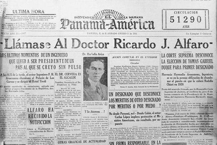 portada panama america 3 enero 1931