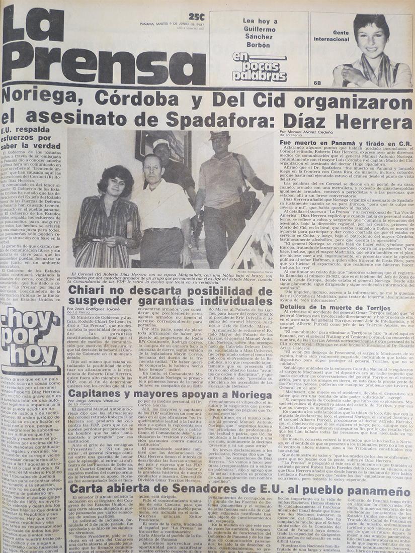 roberto diaz herrera declaraciones 9 junio