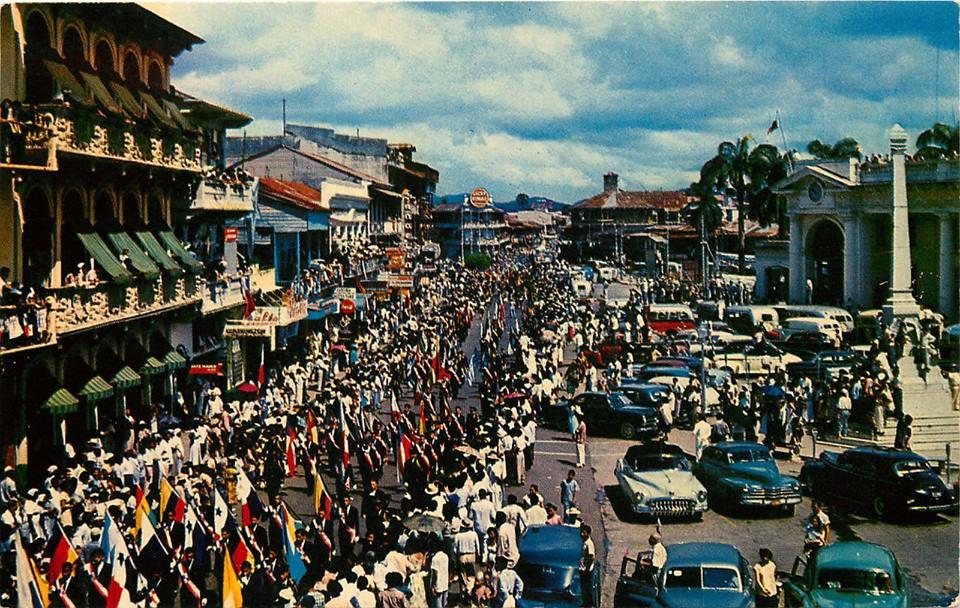plaza 5 mayo mediados años 50 desfiles patrios
