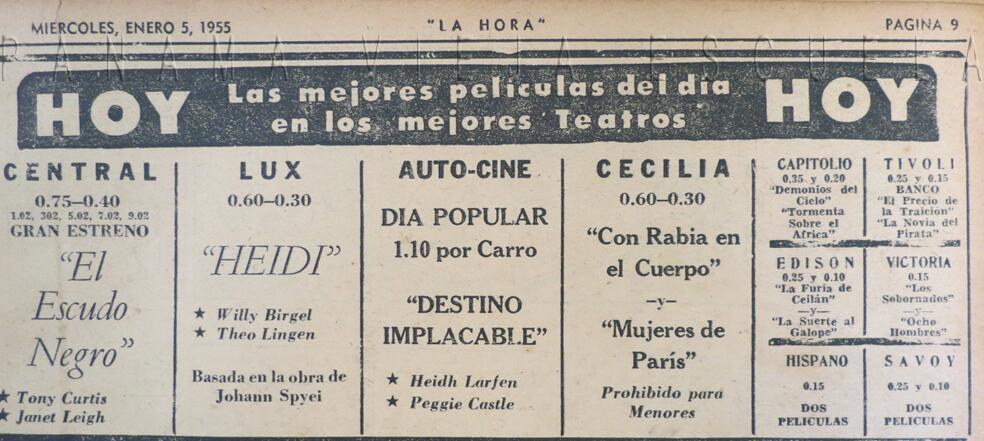 cartelera cines enero 1955