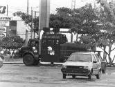 Los camiones pitufo de las Fuerzas de Defensa