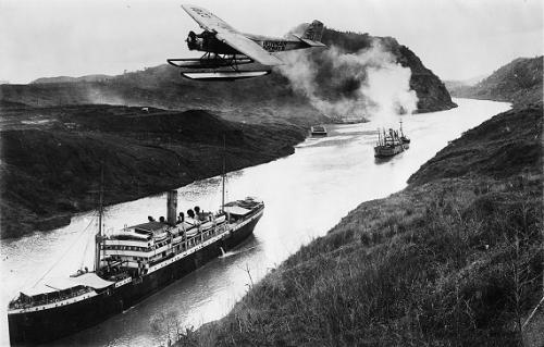 canal de panama - corte culebra hidroplano junio 1921
